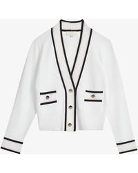 Ted Baker Flora Cropped Stretch-knit Cardigan - White