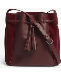 Longchamp - Red Pénélope Leather And Velvet Bucket Bag - Lyst