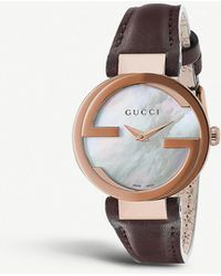 ef6645e564d Gucci - Interlocking-g Collection Rose Gold-toned And Leather Watch - Lyst