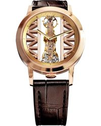 Corum - Gg55r Golden Bridge 18ct Gold And Leather Watch - Lyst