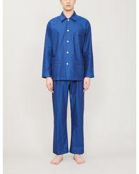 Derek Rose Paris 15 Cotton Jacquard Long Pyjama Set - Blue