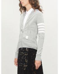 Thom Browne - 4-bar Stripe Cotton-jersey Hoody - Lyst
