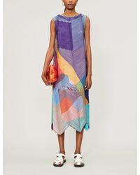 Issey Miyake - Chevron-pleated Loose-fit Woven Midi Dress - Lyst