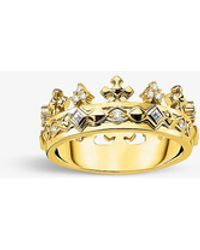 Thomas Sabo Crown 18ct Yellow Gold-plated Sterling Silver Ring - White