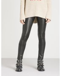 Zadig & Voltaire - Pharel Cuir Deluxe Mid-rise Leather leggings - Lyst