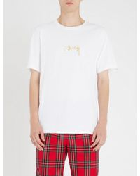Stussy - Logo-embroidered Cotton-jersey T-shirt - Lyst