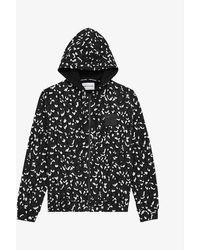 The Kooples Sport Mens Bla28 Graphic-print Cotton-jersey Hoody S - Black