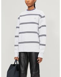 Acne Studios Fairview Face-patch Striped Cotton-jersey Sweatshirt - Grey