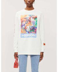 Heron Preston Heron-print Cotton-jersey T-shirt - White
