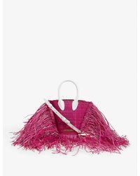 Jacquemus Le Petit Baci Raffia Tote Bag - Pink