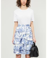 Zadig & Voltaire Graphic-print Silk-satin Mini Skirt - Blue