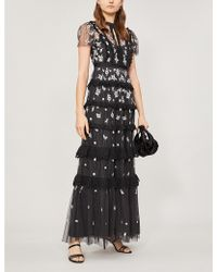 Needle & Thread Ditsy Floral-embroidered Short-sleeved Tulle Gown - Black