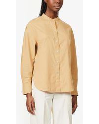 Vince Mandarin-collar Cotton And Silk-blend Shirt - Natural