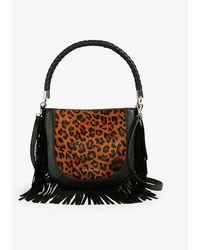 Ted Baker Pinyal Leopard-print Fringed Leather Hobo Bag - Black