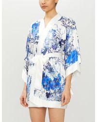 Meng Floral-print Silk-satin Kimono - Blue