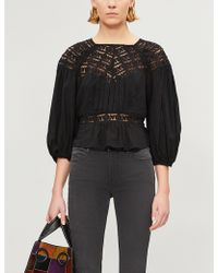 Free People - Ladies Black Sweet Mornings Woven And Lace Top - Lyst