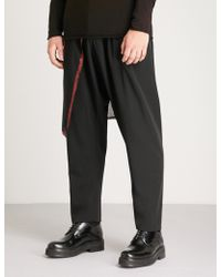 Isabel Benenato - Detachable-panel Tapered Wool Trousers - Lyst