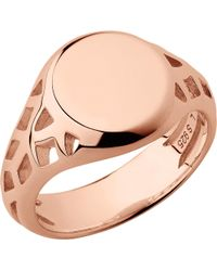 Links of London - Timeless 18ct Rose Gold-vermeil Signet Ring - Lyst