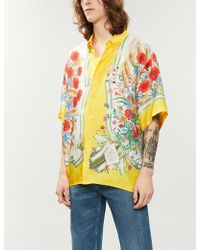 0ad7c8ca5 Gucci Camp-collar Printed Silk-twill Shirt in Blue for Men - Lyst