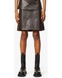 Bottega Veneta A-line High-waist Leather Mini Skirt - Multicolour