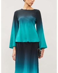 RIXO London Demi Dip-dye Silk-crepe Top - Blue