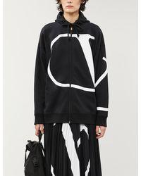 Valentino Dropped-shoulder Brand-print Jersey Hoody - Black