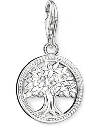Thomas Sabo - Charm Club Silver And Zirconia Tree Of Life Charm Pendant - Lyst