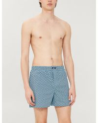 Zimmerli Tile-print Regular-fit Cotton Trunks - Blue