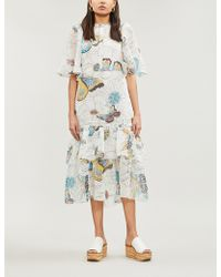 9bd00d2039909 See By Chloé - Butterfly-print Voile Midi Dress - Lyst