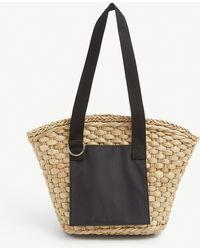 Ganni Branded-patch Straw Shoulder Bag - Black