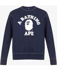 A Bathing Ape Logo-print Cotton-jersey Sweatshirt - Blue