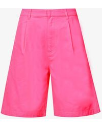Stussy Lee Relaxed Cotton-twill Shorts - Pink