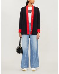 Sandro Contrast-trim Knitted Cardigan - Blue