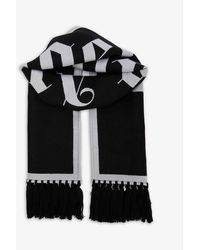 Palm Angels Logo-intarsia Wool And Cotton-blend Scarf - Black
