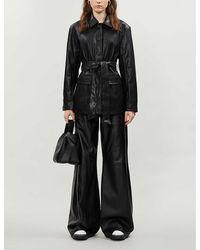 TOPSHOP Black Faux Leather Tie Shacket
