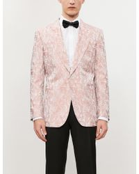 Gieves & Hawkes Floral-pattern Regular-fit Silk-jacquard Blazer - Pink
