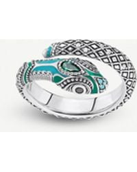 Thomas Sabo Tropical Snake Sterling Silver And Coloured Stone Ring - Metallic
