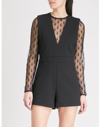 Maje - Istoria Lace-trimmed Woven Playsuit - Lyst