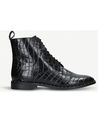 KG by Kurt Geiger Tilda Mock Croc Leather Ankle Boots - Black