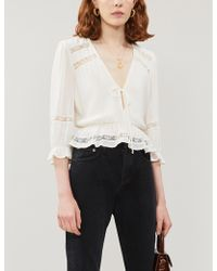 Reformation Emily V-neck Rayon Top - White