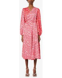 Never Fully Dressed Leopard-print Satin Midi Wrap Dress - Red