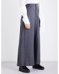 Moohong Pleated Wide High-rise Wool Pants - Gray