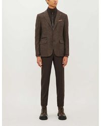 Corneliani Checked Slim-fit Wool, Cotton And Cashmere-blend Blazer - Brown