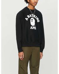 A Bathing Ape College Wide Cotton-jersey Sweater - Black