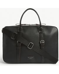 Ted Baker Waine Grained Leather Holdall - Black