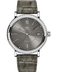 Iwc - Iw458104 Portofino Alligator-leather And Diamond Watch - Lyst