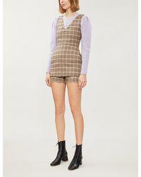 Maje Irilo V-neck Checked Wool-blend Playsuit - Natural