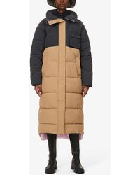 Ganni Colour-blocked Shell Puffer Coat - Natural