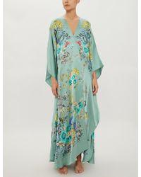 Meng Floral-print Silk-satin Robe - Green