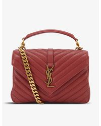 Saint Laurent University Small Quilted Leather Shoulder Bag - Red